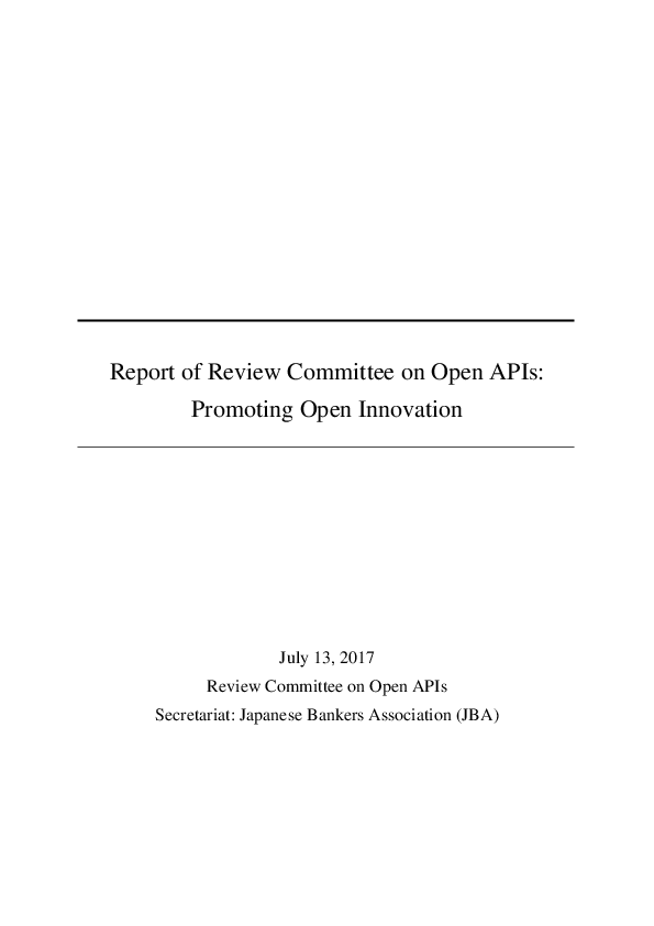 Report of Review Committee on Open APIs:Promoting Open